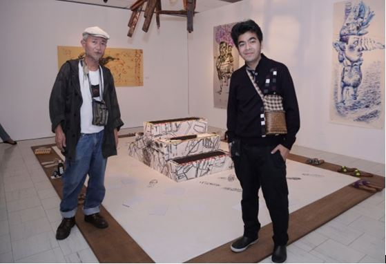 Papermaker Asao Shimura and guest artist Joey Cobcobo