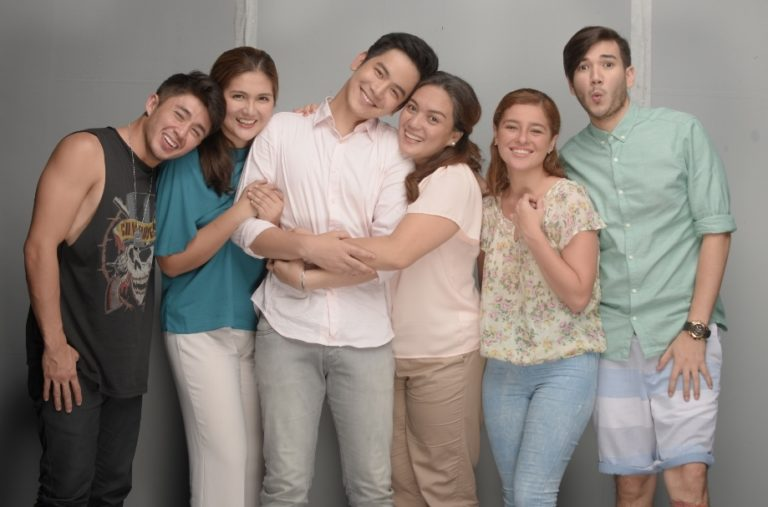 Sylvia Sanchez (4th from left) with costars Aaron Villaflor, Dimples Romana, Joshua Garcia, Andi Eigenmann and Matt Evans