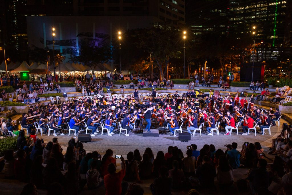 The Orchestra of the Filipino Youth and Ang Misyon Children's Orchestra at their joint performance in Sun Life Amphitheater conducted by Joshua Dos Santos