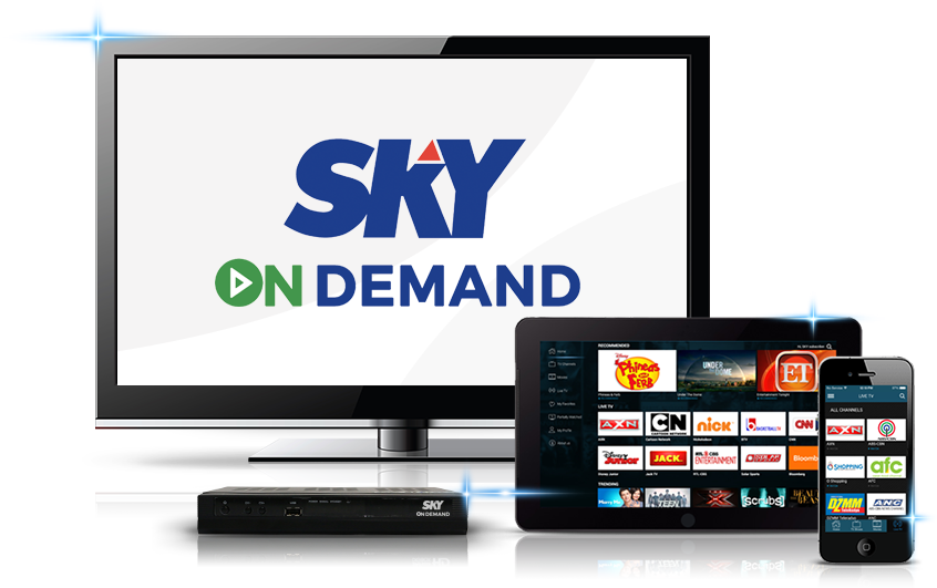 Live cable TV, pay-per-view, movies accessible online via SKY On Demand