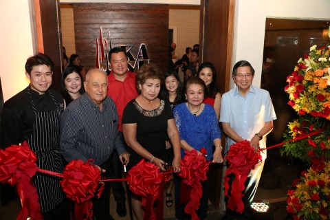 Ribbon Cutting of Kayu - Chef Izzy Sy, Don Luis Aboitiz, Mayor Paz Radaza, Elo Fernan, and Ambassador Manuel Lopez(background Ria Sy Francis Sy, Reesha Sy, Marisse Sy)