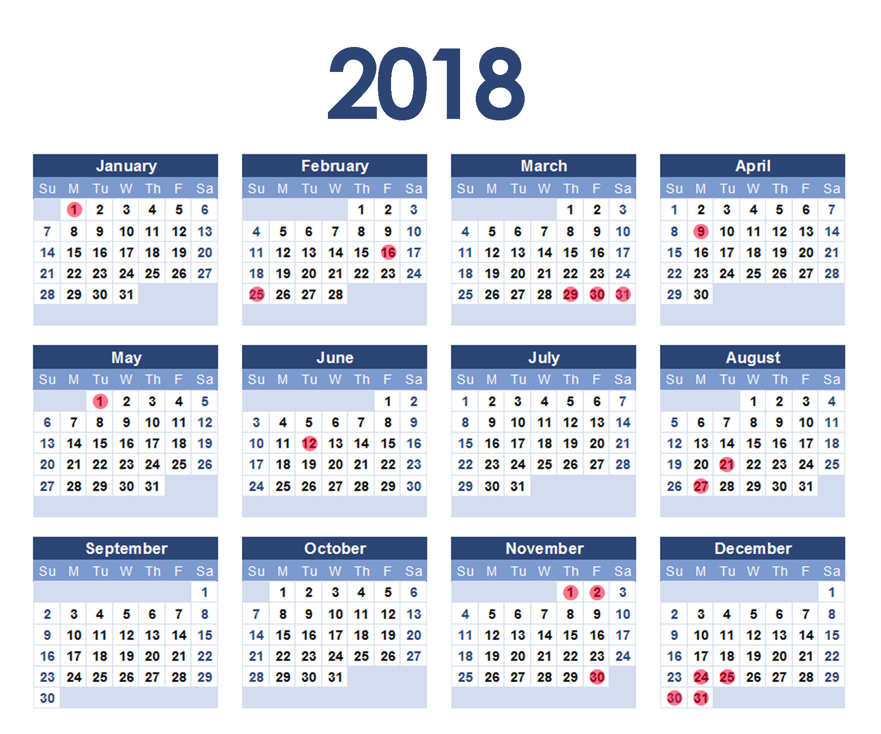 18 holidays in 2018!