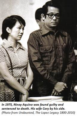 In 1975, Ninoy Aquino was found guilty and sentenced to death. His wife Cory by his side.