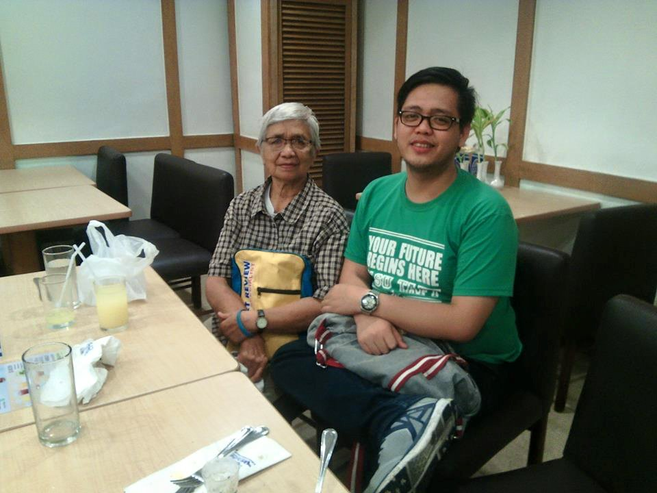 With his 80-year-old grandmother who raised him practically from infancy