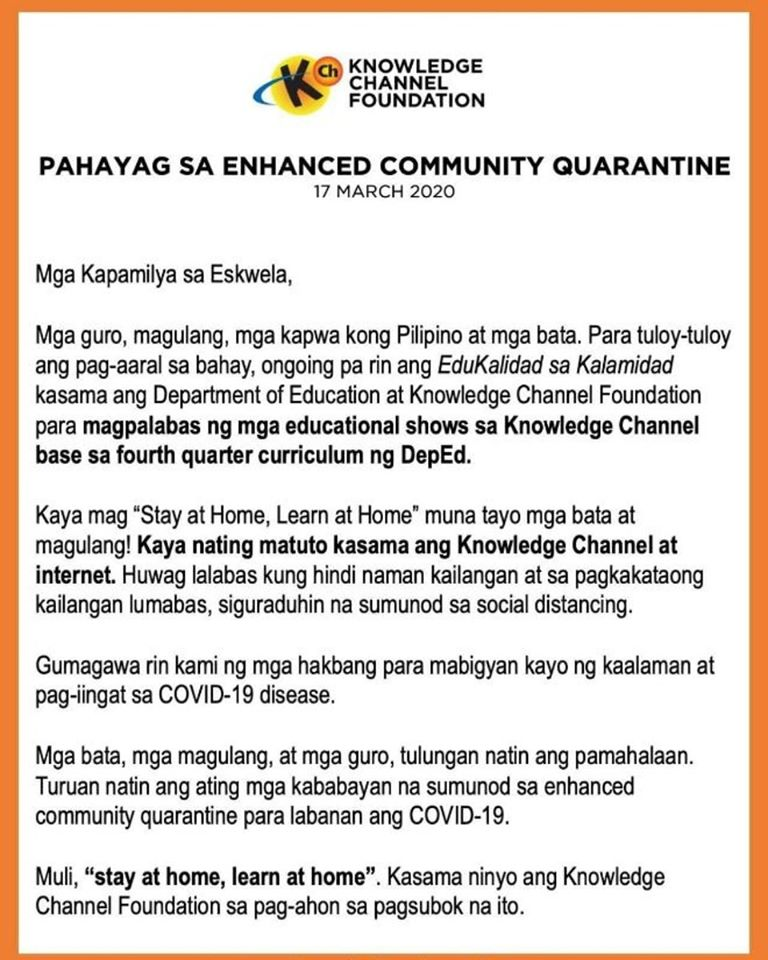 Pahayag sa Enhanced Community Quarantine
