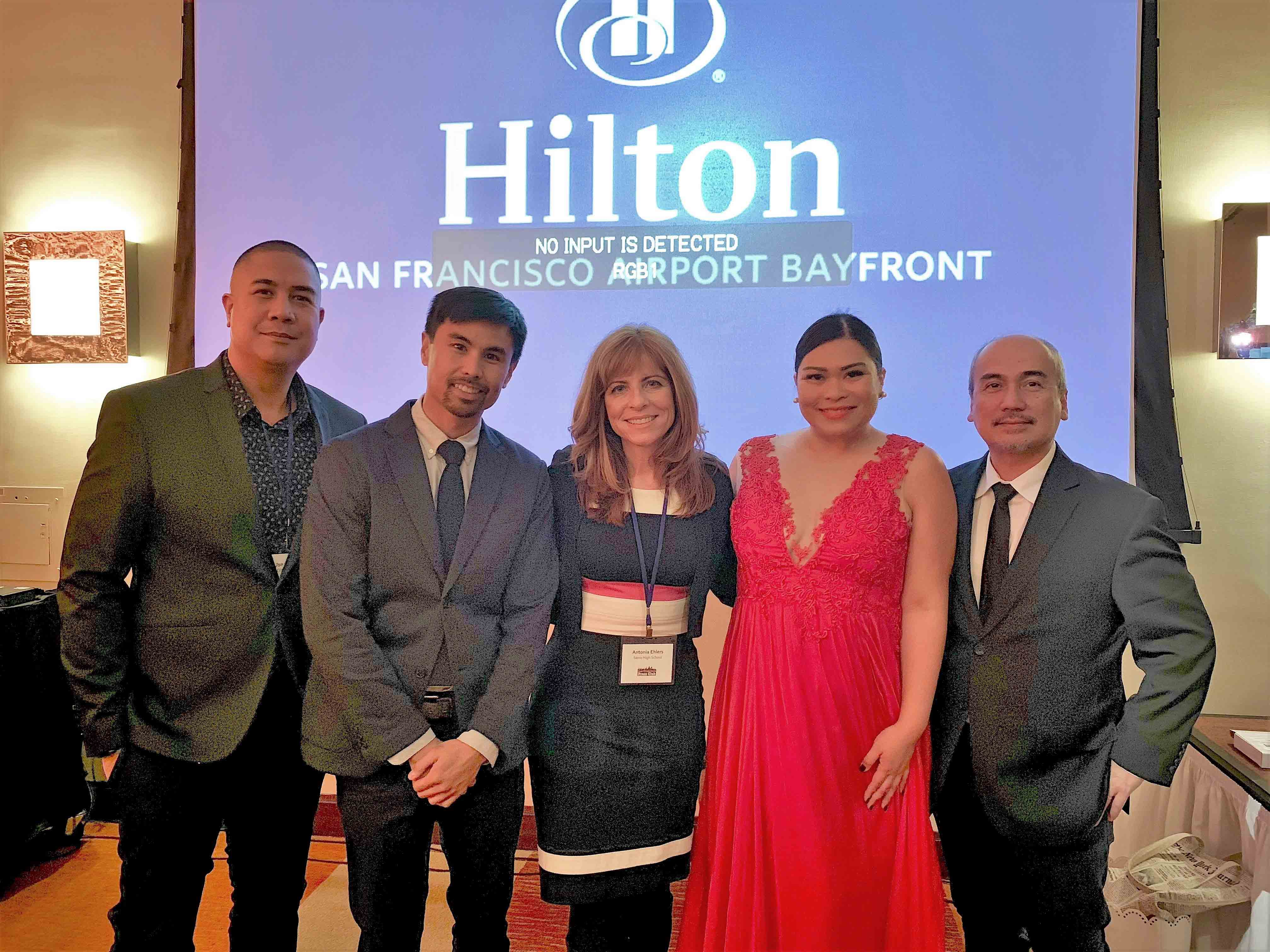 San Francisco Press Club outgoing president Antonia Ehlers (center) with (l-r) Box City's Jon Santos, Jeremiah Ysip, Henni Espinosa and Mike Carrion. Not in photo is cameraman Patrick Luna