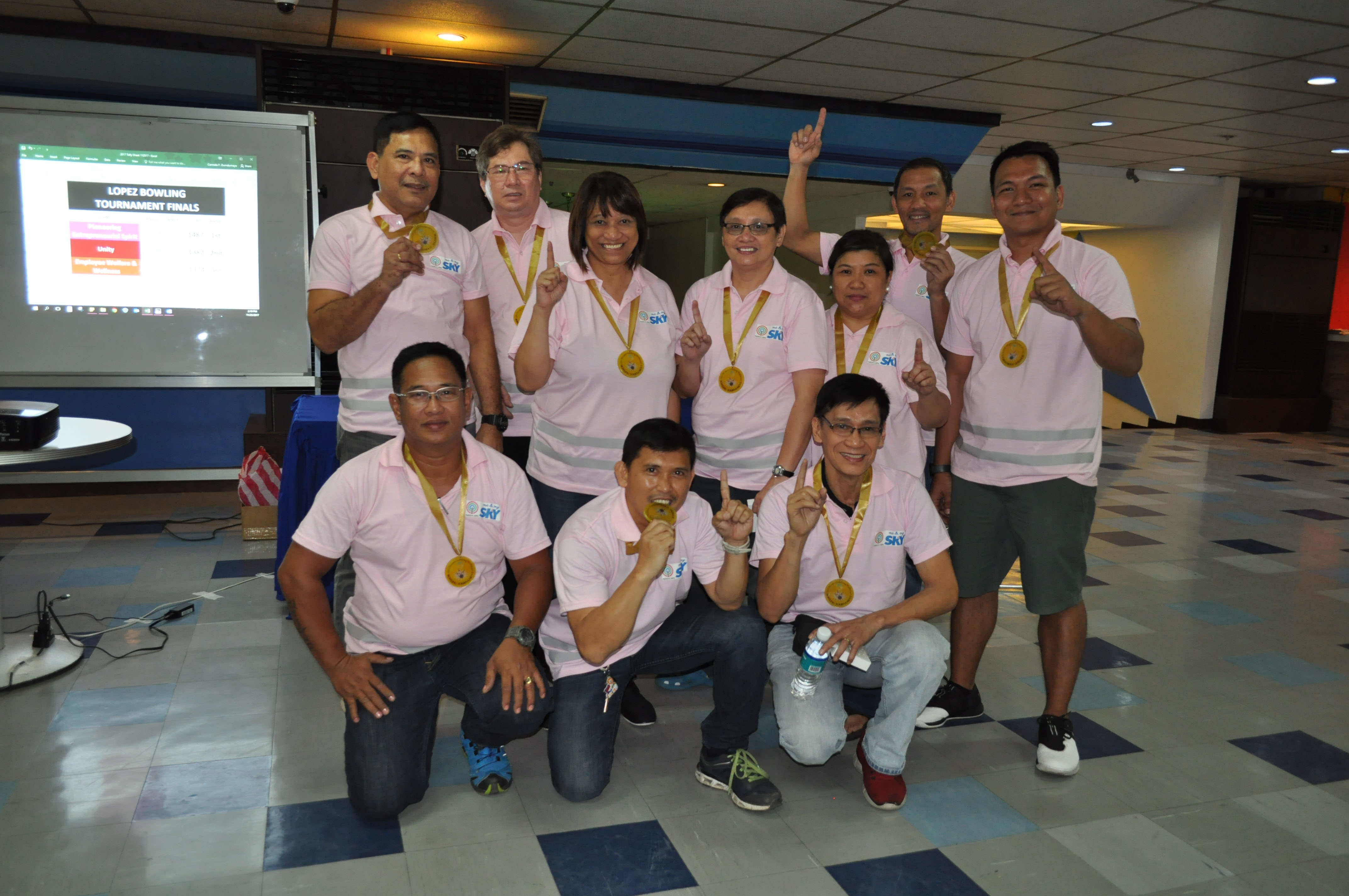 Clockwise from top: Overall champion Team Pioneering Entrepreneurial Spirit; Second placer Team Unity; and third placer Team Employee Welfare and Wellness