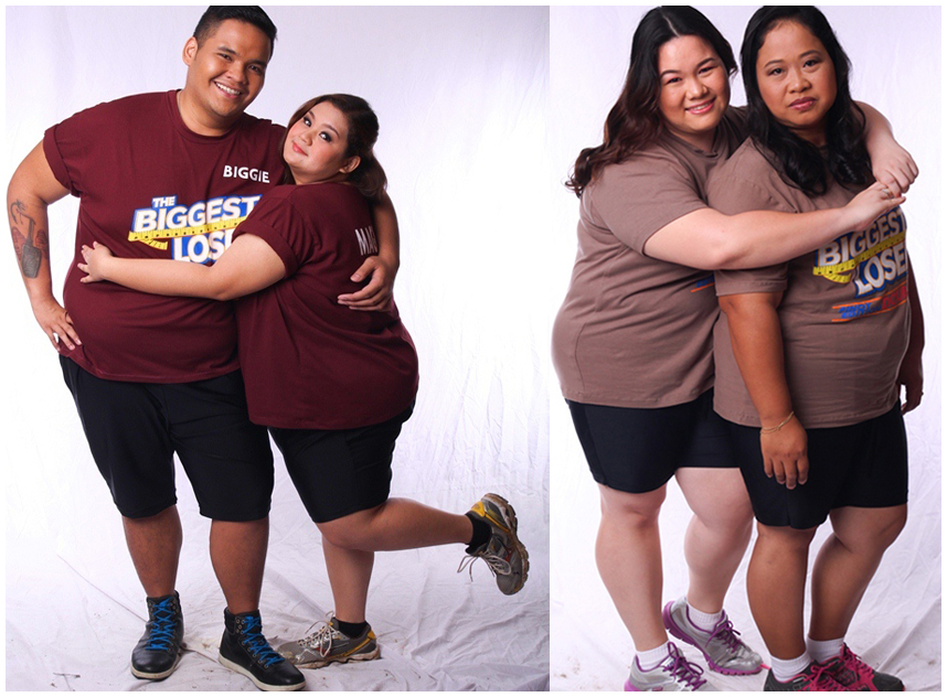 Biggest Loser Pinoy Edition Doubles pair (L-R) - Magkasintahang Biggie at Valerie; Magpinsang Lovely at Carol