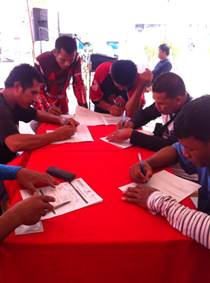 Drivers from the provinces of Davao Zamboanga and General Santos  City fill-up forms to join Pinoy Tsuper Hero