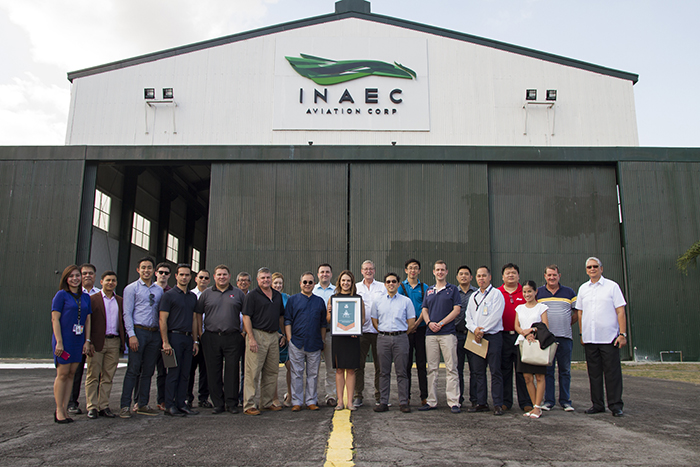 Benjamin R. Lopez (front row, 4th from right), INAEC president and head of AsBAA's Philippine chapter, welcomes the AsBAA delegates to the INAEC Clark hangar