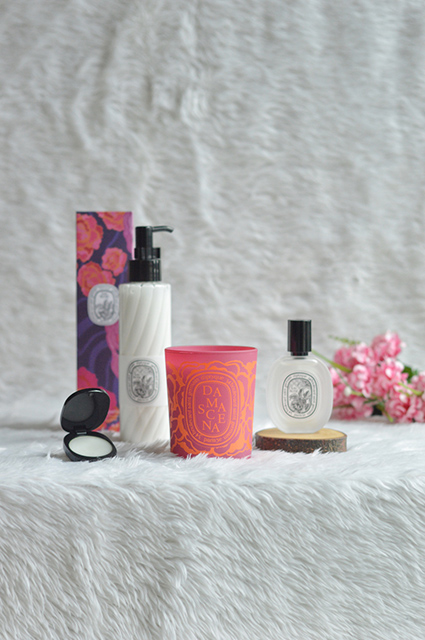 Eau Rose Solid Perfume, Eau Rose Hand and Body Lotion, Damascena Candle and Eau Rose Hair Mist available at Diptyque, R1 Level