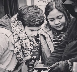 Direk Antoinette Jadaone with James Reid in Palace of Fine Arts (Photo from Dreamscapes Instagram)