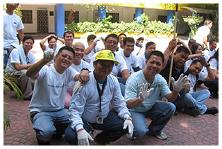 SKY Mega Manila employees are ready to work on the floors and walls of Bagong Ilog Elementary School