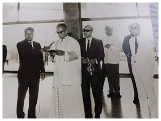 Meralco president Eugenio Lopez Sr. (rightmost) graces the blessing of the Lopez Building in 1969. Architect Jose Zaragoza is third from right, in white