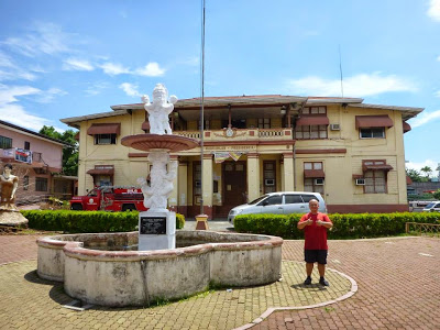 In front of the town hall of Nagcarlan where visitors are dropped off