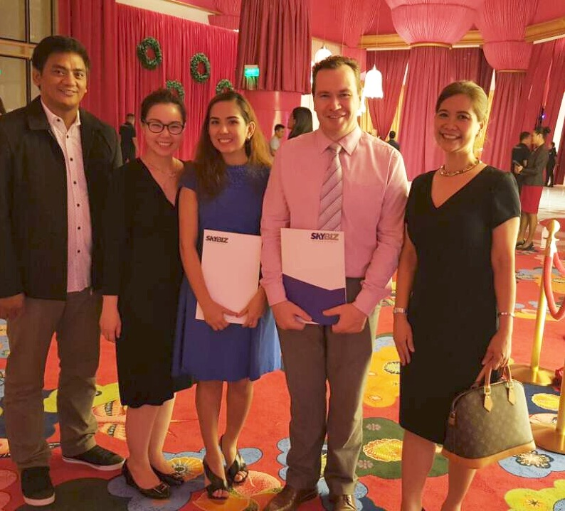 L-R: SKY customer engineer Dario Mendoza, key accounts managers Caroline Yenko and Geeka Feliciano, Okada Manila SVP for IT Dries Scott and SKY key accounts head Angela Cabrera