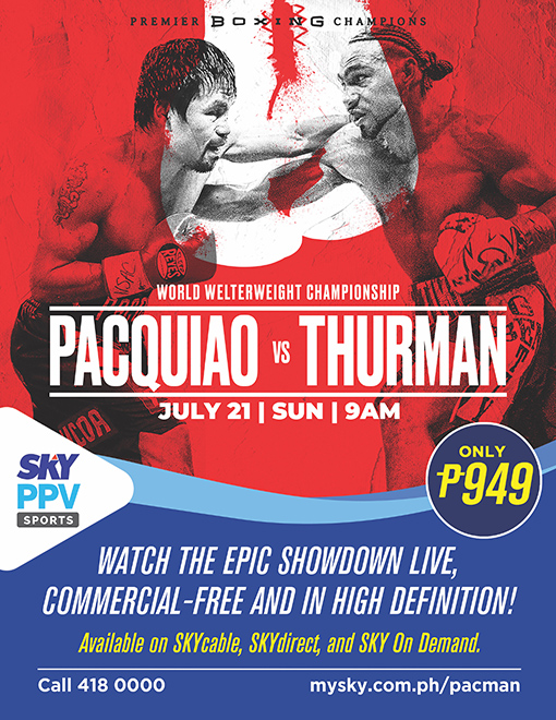 Pacman vs. Thurman on SKY Sports PPV for only P949