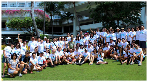 Employees enjoying the summer outing in Mactan, Cebu