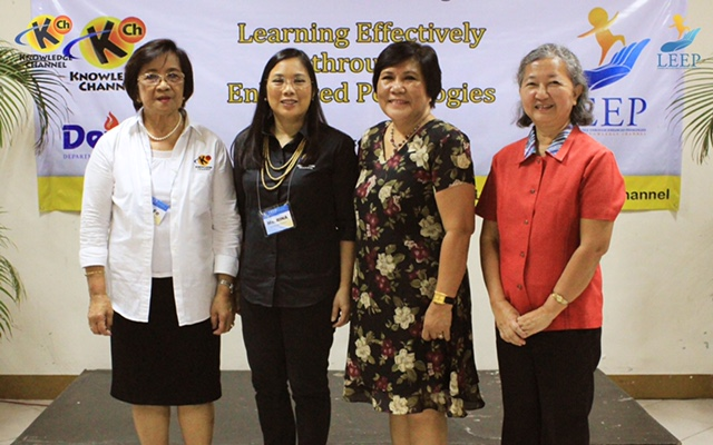 KCFI president Rina Lopez Bautista (2nd from left) with (l-r) former DepEd Sec. and KCFI consultant Dr. Fe Hidalgo, DepEd regional director Dr. Luz Almeda and QC Schools Division superintendent Dr. Helen Grace Go