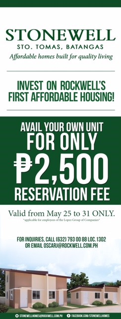 Lopez employees may now avail Stonewell Units for only P2,500 Reservation Fee