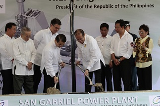 During the San Gabriel power plant groundbreaking ceremonies with chairman emeritus Oscar M. Lopez, FPH president Giles Puno, Pres. Noynoy Aquino and other officials;