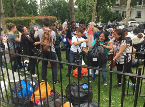 Filipinos bring to life the 'bayanihan' spirit by helping at the relief operations after the massive fire that hit Grenfell Tower in West London