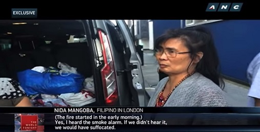 "Filipina survivor Nida Mangoba recounts the tragic morning in an interview with Buenafe, as seen in a report on ""The World Tonight."""
