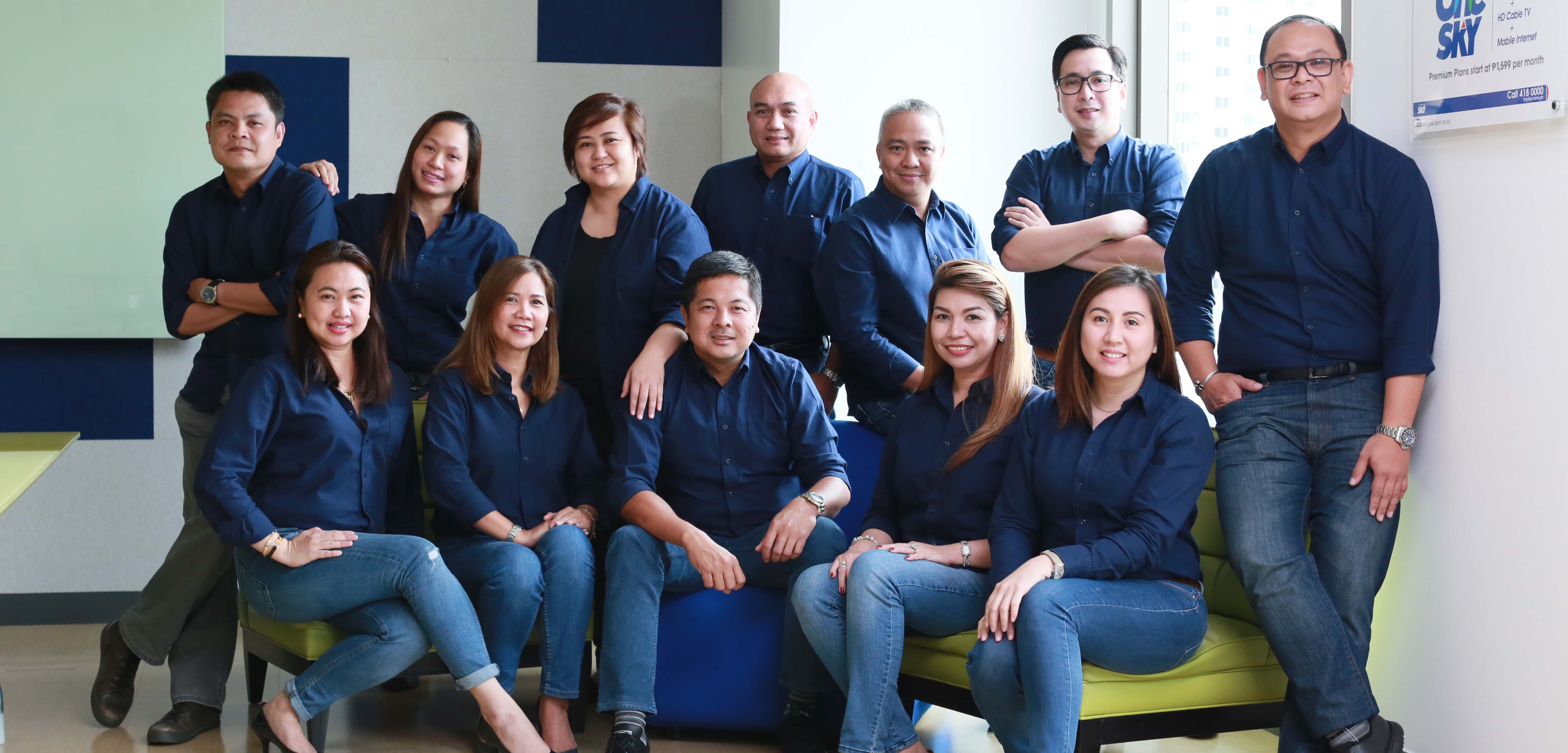The SKYBIZ Enterprise team Clockwise from top left: Jowell Peralta (Sales head), Lea Datu (Sales head), Trixie Gabriel (Marketing head), Dennis Marquez (Sales head), Jamir Betita (CE head), Ronnel Dumandan (Sales head), Dicky Liwanag (BU head), Jill Baluyot (SOG head), Che Rodriguez  (Sales head), Jon Arayata (Division head), Angela Cabrera (Sales head) and Jackie Soriano (Sales head)