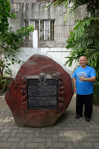 The Bataan Death March stone marker in San Fernando