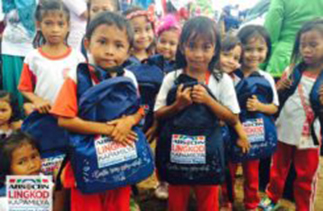 Some of the schoolchildren who received their learning kits from Operation Sagip