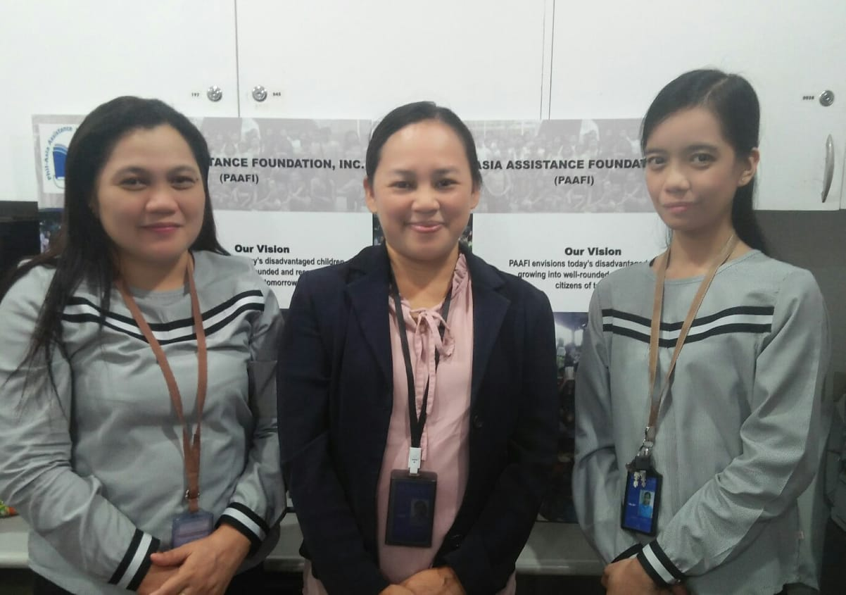L-R: Administrative assistant Clemen Zerrudo, overall program coordinator Maria Fe Beltran and social worker Aiko Acuin