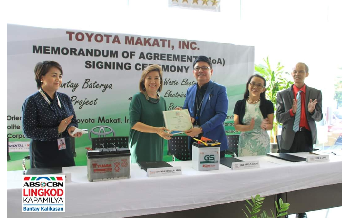 ALKFI managing director Susan Afan (2nd from left) with Toyota Makati Inc. HR and Admin manager Josephine Lim and president Jose Ariel Arias, ALKFI chief finance and services officer Lita Lara and Envirocare Management Precision Inc. VP Reno Entico
