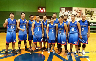The members of the champion SKYBIZ basketball team (l-r): Margil Damondamon, Monj Monje, Ryan Lurion, Raffy Habana, John  de Guzman, Paul Florendo, Khmer Faildon, Darren Montoya, Jayson Balmaceda, Ric Caluttong and Dicky Liwanag; not in photo are Russ Regaspi, Eduardo Garrovillas, Neil Pajarillo, Romy Paredes, Abner Catembung, Jonas Sibug and Elfren Parce Jr.