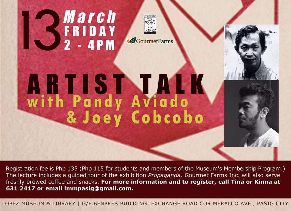 Artist Talk with Pandy Aviado and Joey Cobcobo on March 13