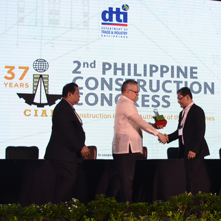 The company, represented by EVP Rey Villar, is recognized as one of the Pillars and Pioneers of the Construction Industry by the Construction Industry Authority of the Philippines