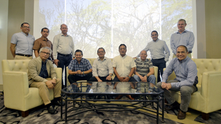 Seated, L-R: Anthony L. Fernandez, president and COO; Carlos Pedro Salonga, head of Human Resources; Rey Villar, head of Construction Business Group; Nelson Cartagena, head of Geothermal Projects Division; Ismaelito Altamirano, head of Plant & Equipment Division; and Jonathan Tansengco, CFO; Standing, L-R: Randolf Rellera, head of Procurement & Materials Management; Levi Agoncillo, head of Business Development; Edgardo Javier, deputy head of Construction Business Group; Vicente de Lima II, head of Strategic Business Planning; and Malcolm Lorimer, Commercial director