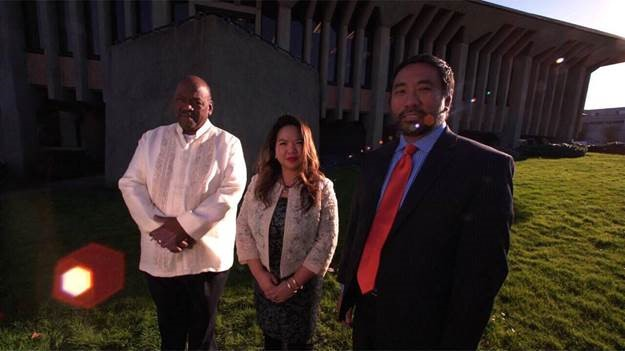 "(L-R) Daly City Mayor Glenn Sylvester, Vice Mayor Juslyn Manalo and Councilmember Ray Buenaventura provided great support and appear in the ""TFC: Home in Daly City"" video. (Photo courtesy of Jeremiah Ysip)"