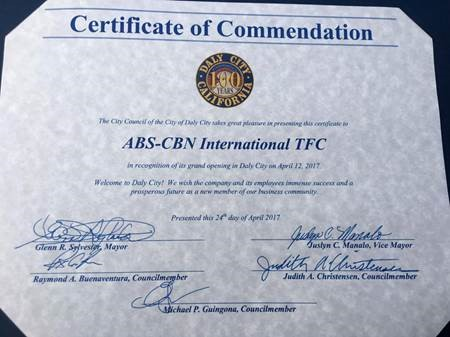 TFC's Homecoming to DC Commended by the Daly City Government