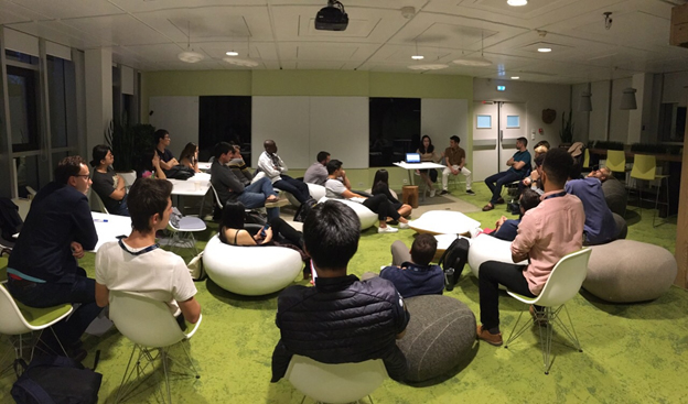The PeoplePods founders (center) share their experiences with future social entrepreneurs from INSEAD
