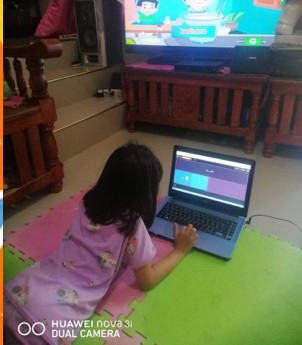 A Facebook user submitted this photo of her daughter studying at home via Knowledge Channel