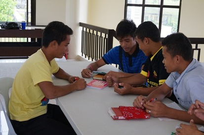 Edwin (left) with his batch mates in a group session.