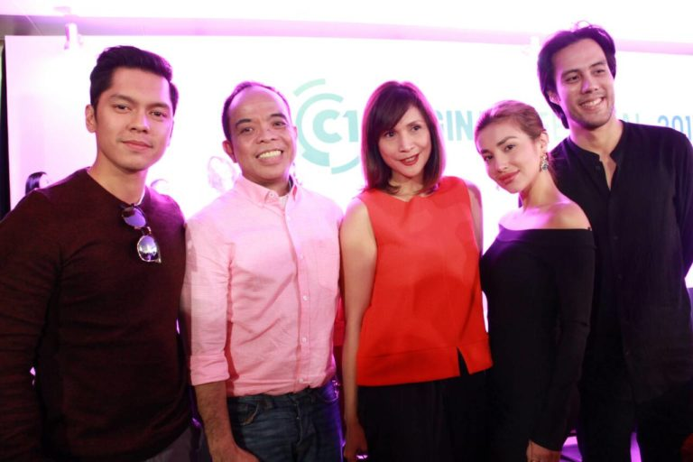 Cinema One Originals festival director Ronald Arguelles (2nd from left) with actors Carlo Aquino, Agot Isidro, Nathalie Hart and Rafa Siguion-Reyna