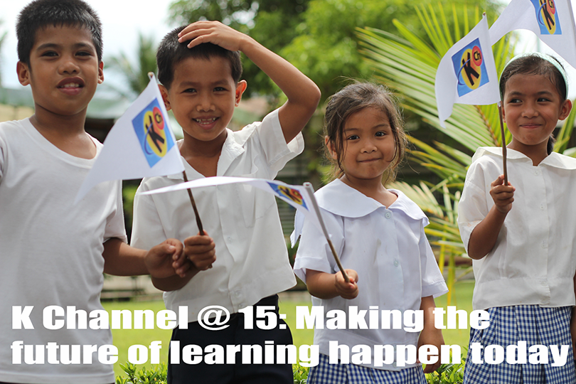 Students from Hamtic Central School in Antique wave their Knowledge Channel flags during the ceremonial turnover at their school