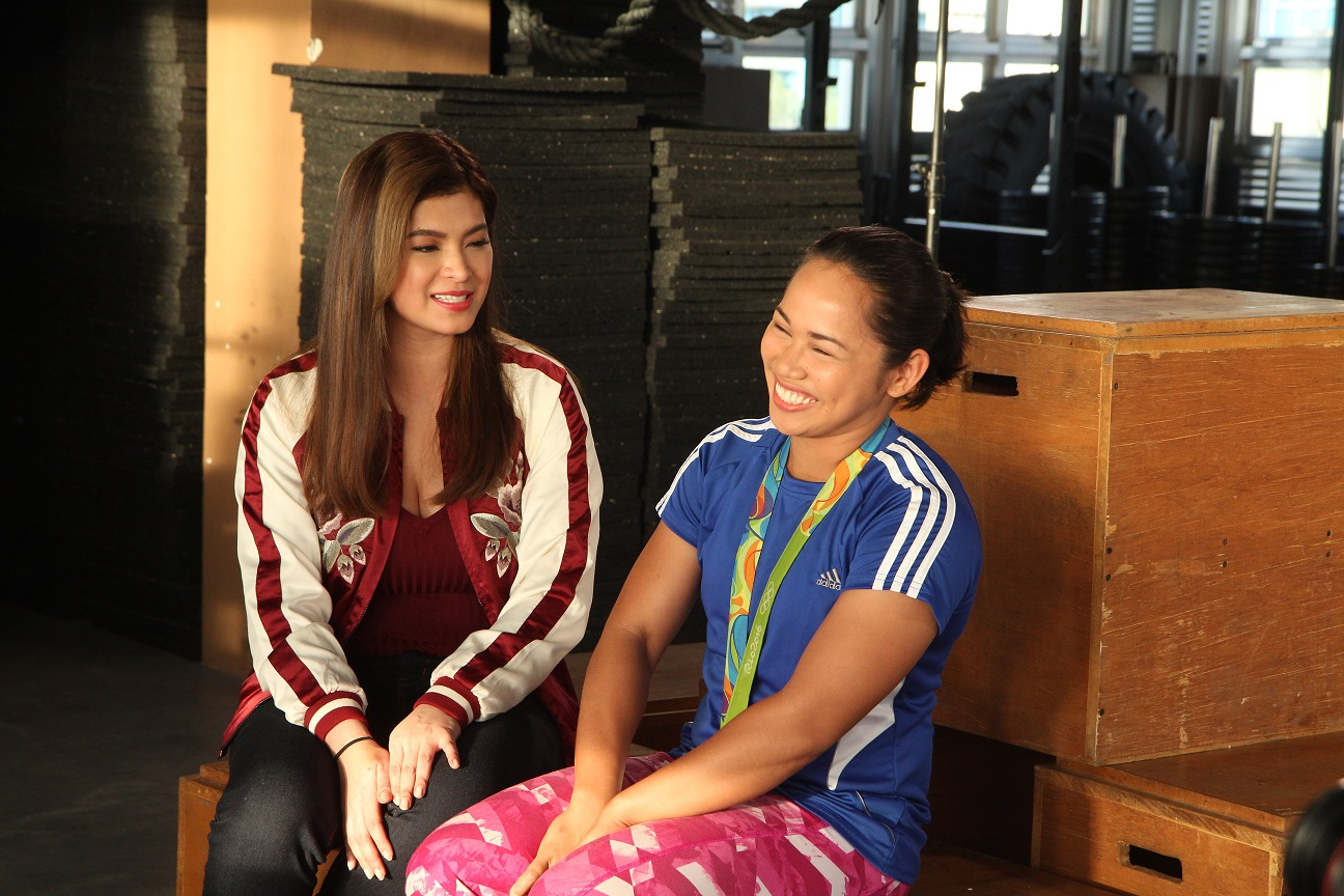 Angel Locsin with Hidilyn Diaz