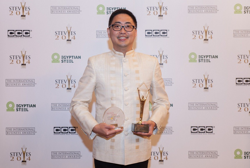 ABS-CBN Integrated Corporate Communications OIC Kane Errol Choa accepts the Gold Stevie and People27s Choice Stevie Awards at the International Business Awards
