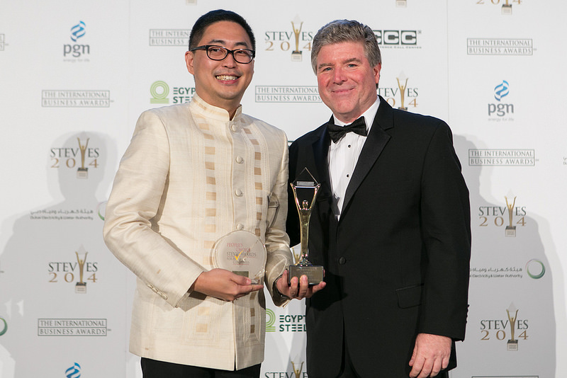 ABS-CBN Integrated Corporate Communications OIC Kane Errol Choa and Stevie Awards president Michael Gallagher  at the International Business Awards