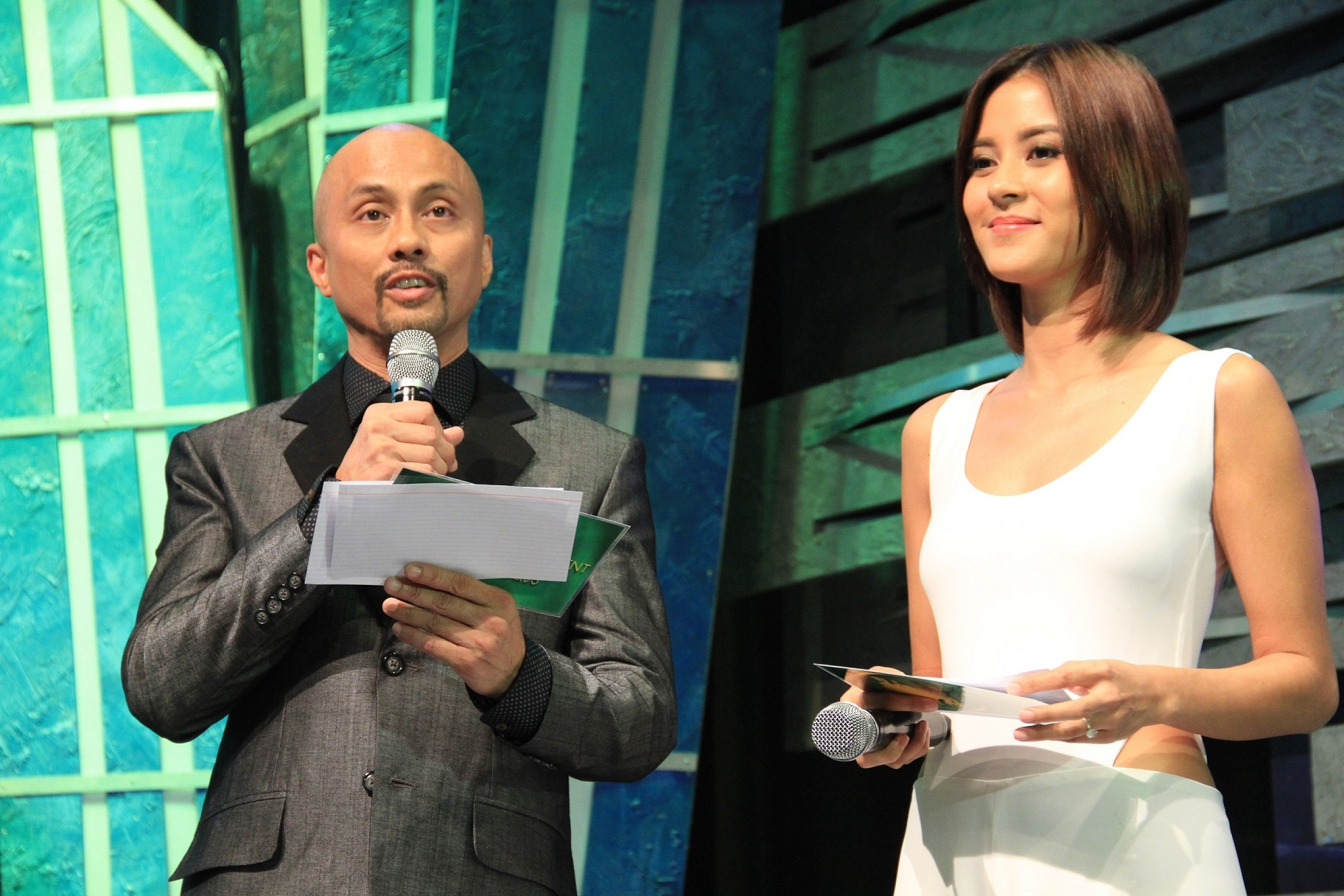 Second time host ABS-CBN publishing chief Ernie Lopez with Bianca Gonzales