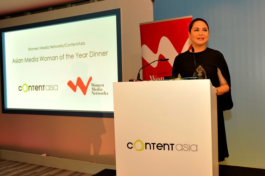 Charo Santos-Concio speaks at ContentAsia's Asian Media Woman of the Year dinner