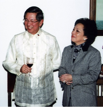 With wife Maritess during a reception hosted by the Philippine Embassy