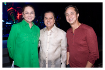 President Charo Santos-Concio, Noli de Castro and Chairmain Eugenio Lopez III during the kickoff of the 60th anniversary festivities